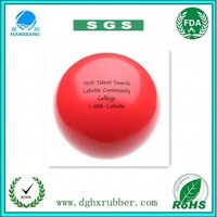 China dongguan custom made,clear,bouncy,soild,foam,the red rubber ball,with black logo,for dogs,toy,Promotional gift
