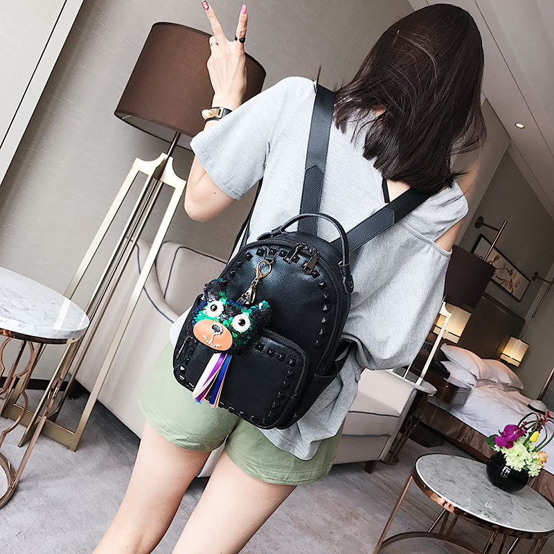 Top Selling China Supplier Online Rivet Women PU Leather Bag Backpack