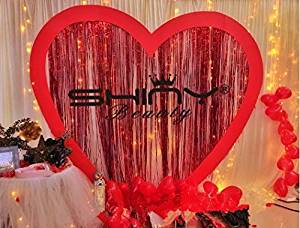 shinybeauty 6ftx9ft foil fringe curtain red tinsel foil fringe door window curtain for christmas - Foil Christmas Door Decorations