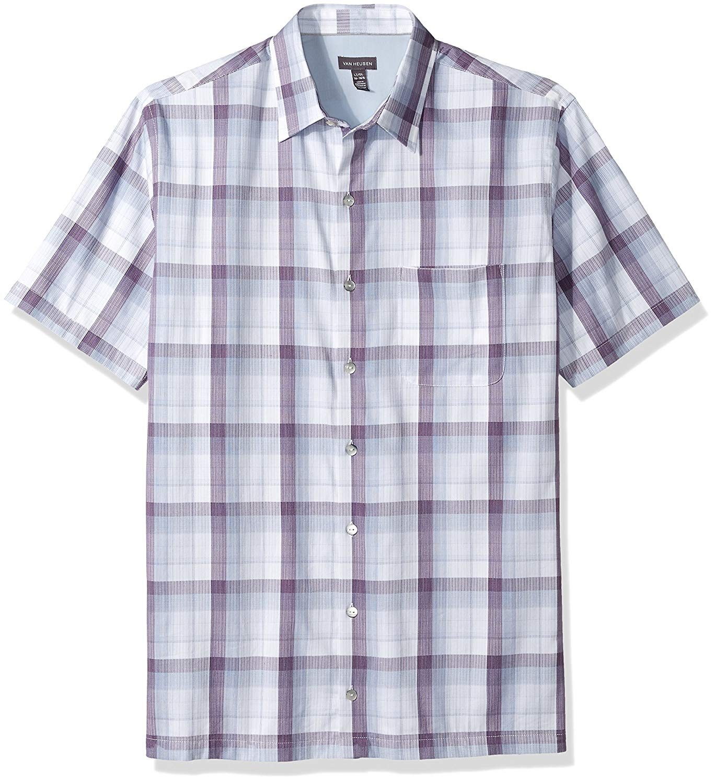 f5b0bbc318df14 Get Quotations · Van Heusen Men's Textured Cotton Rayon Short Sleeve Shirt