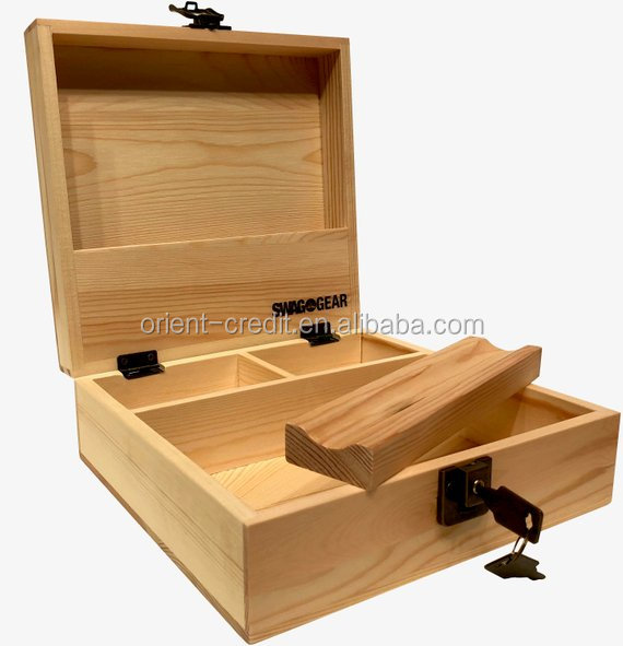 Stash Box with Lock and Key Locking stash box with Compartments Wooden Stash Boxes with Rolling Tray Storage Wood Boxes