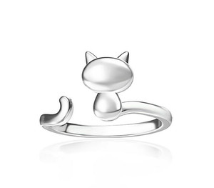 Cat ring female Korean fashion hypoallergenic tail ring adjustable cuff ring