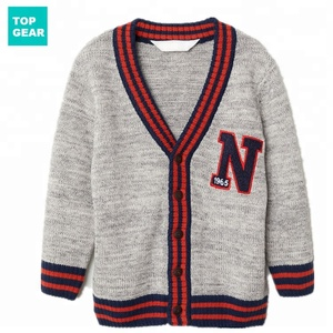 Kids cotton cardigan sweaters for boy with letter knitting pattern