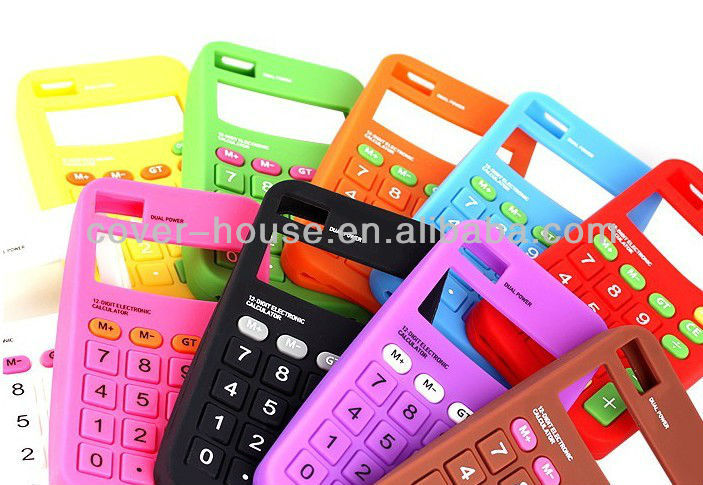 2012 Factory price hot sale soft calculator silicon case for iPhone 4 4S