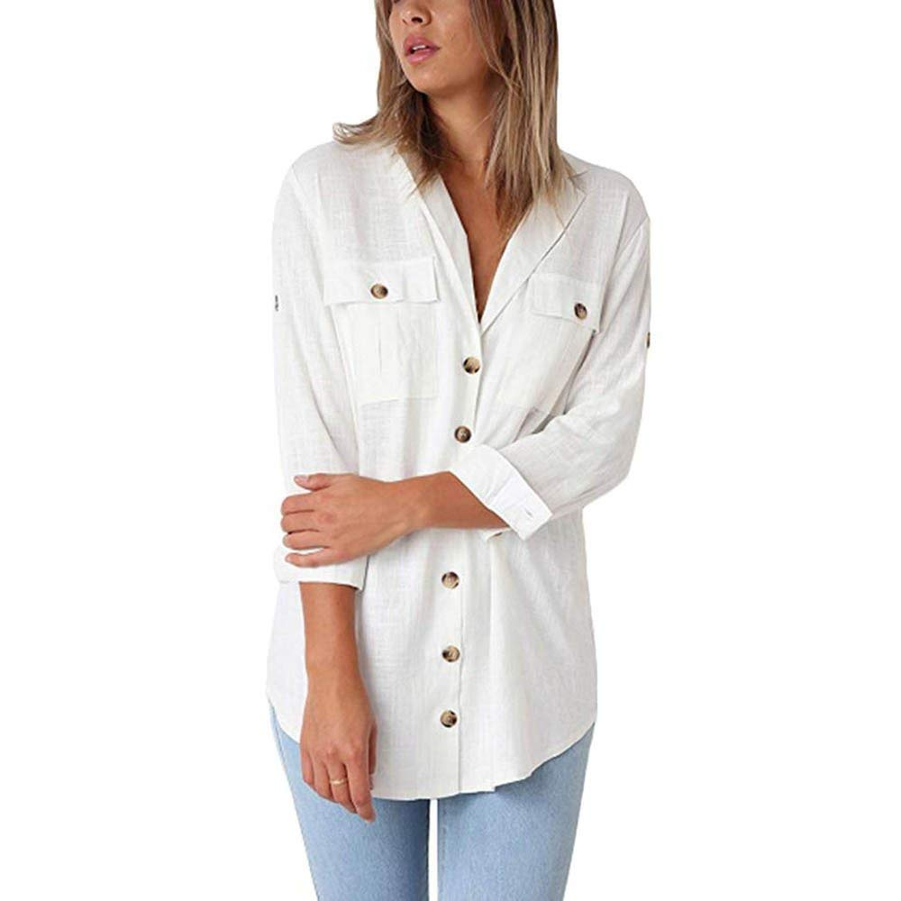 8061cf51665 Get Quotations · Womens Tops Long Sleeve Solid Turn-Down Collar Buttons  Loose Casual Tunic T-Shirt