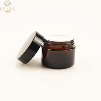 Quality Assurance 50g amber glass jars with black lids best service and low price