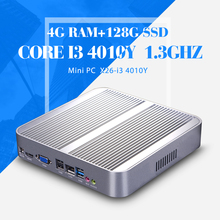 Hot I3 4010Y DDR3 4GB 128GB SSD Desktop Computer Mini PC Thin Client Support Wireless Keyboard Mouse And Touch Screen