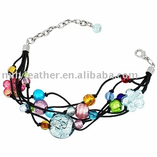 MPD -007 Murano Glass leather Bracelet