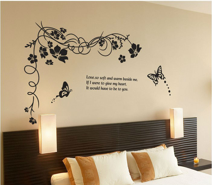 10 Home Decor Stores We Love: Black Butterfly Flowers Home Decor Wall Stickers Crystal
