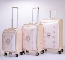 Manufacture price Pu leather suitcase trolley travelling case