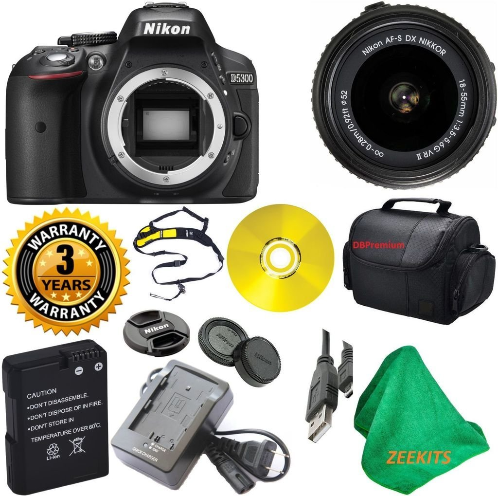 Nikon D5300 24.2 MP CMOS Digital SLR Camera with 18-55mm f/3.5-5.6G VR II Auto Focus-S DX NIKKOR Zoom Lens with Deluxe Case + 3 Year Worldwide Warranty - International Version