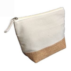 2019 Popular Eco-friendly Washable Natural Jute Canvas Cosmetic Bag with Zipper