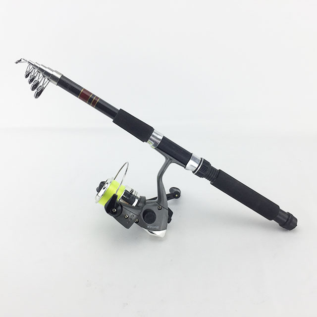 Fishing Tackle Set With 2.1m Telescopic Fiberglass Spinning Fishing Rod