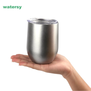 12oz double wall stemless wine glass , stainless steel vacuum insulated wine tumbler mug with lid