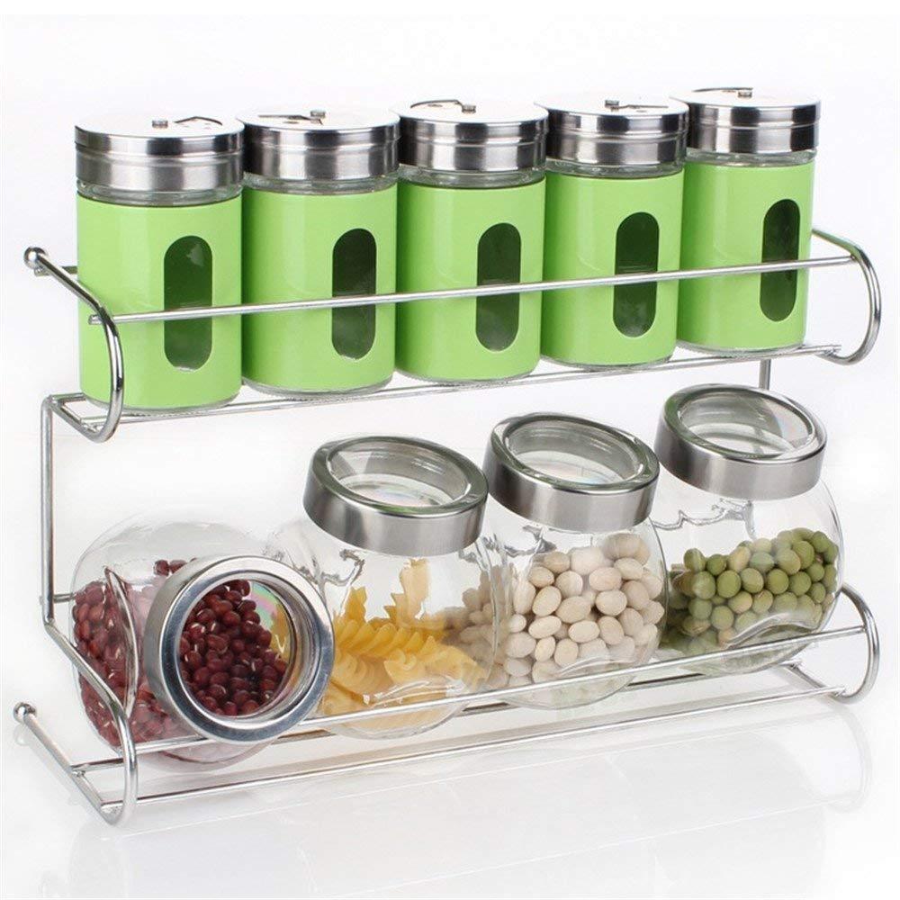 10 PCS Premium Quality Clear Glass condiment set, spice box seasoning bottle set with Shelf seasoning salt pepper spice cans kitchen accessories ZBNL2387