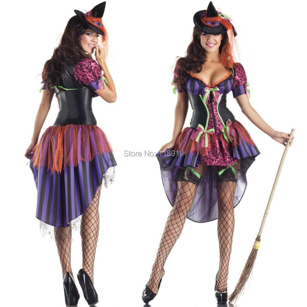 86e0aa1b4 Get Quotations · 2015 New Adult Womens Sexy Halloween Party Witch Costumes  Outfit Fancy Devil Cosplay Long Dresses Size