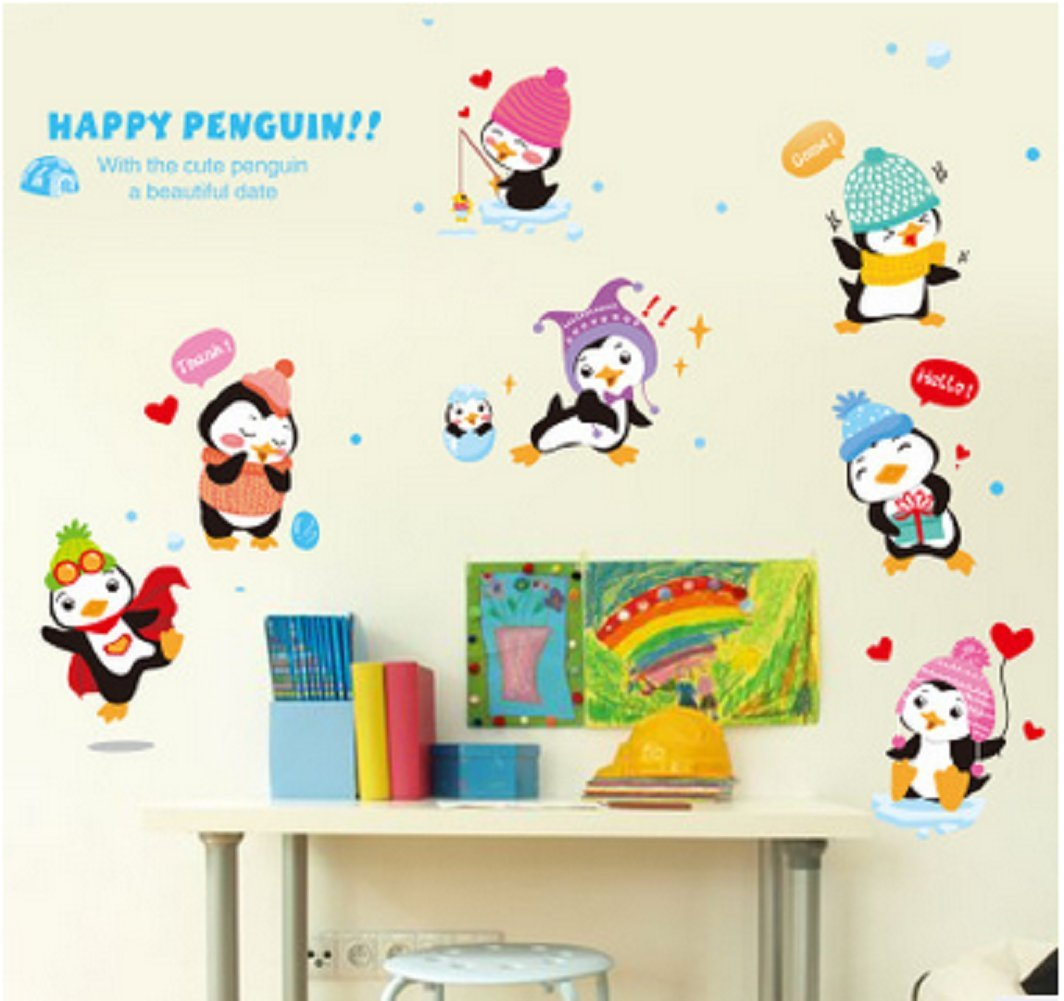 Revesun Cute Funny Little Penguin Wall Art Decal Sticker Penguin Family Mural Wallpaper Decor Kids Room Nursery Wall Decoration Rooms Decal Home Art