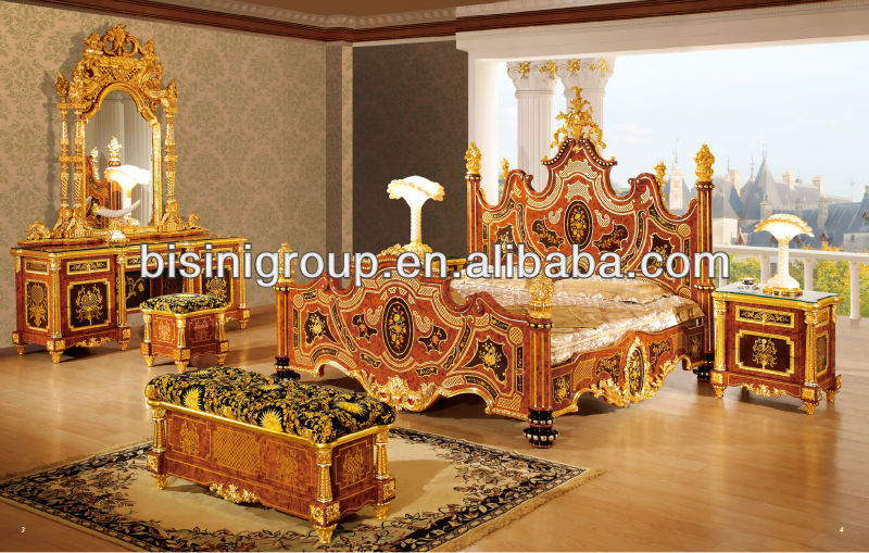 Luxury Bedroom Set Italian Royal Style Wedding Furniture 24k Gold Plated
