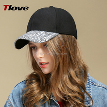 Tlove 2017 good quality colorful sequins baseball cap,black hat sports caps7726