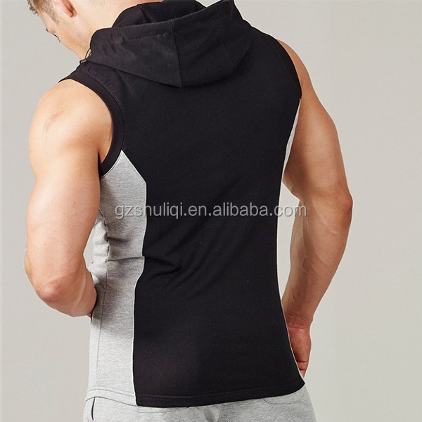 65% cotton 35% polyester blank sleeveless hoodies tapered fit full zipper hoodie stringer vest