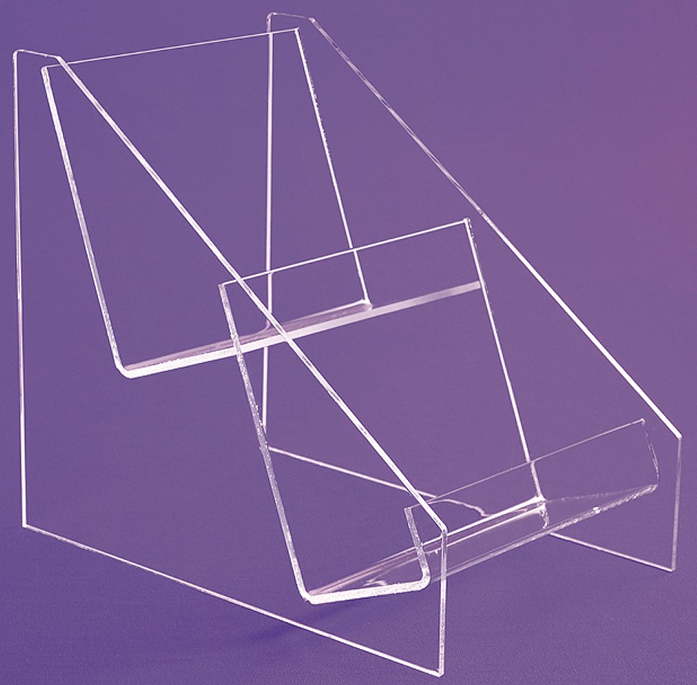 2 Tiers Clear Acrylic CD DVD Shelving Units Bins Easel Display Stands Holder Rack