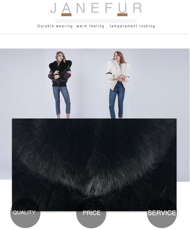 Girls Stylish Winter Fashion Real Fox Fur Collar Luxury Down Jacket For Women Winter