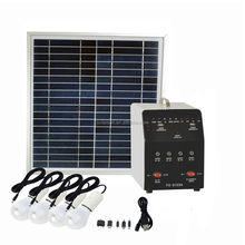 Outdoor Solar Lighting Kit System with FM Radio SD AUX MP3 Player USB Charger