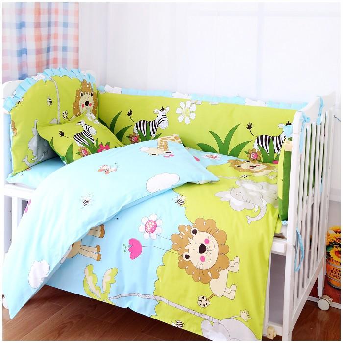 Promotion 7pcs Lion crib bedding set 100 cotton baby bedding curtain crib newborn bed sheet 4bumper