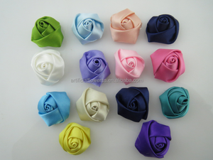 Decorative handmade make small satin fabric flowers