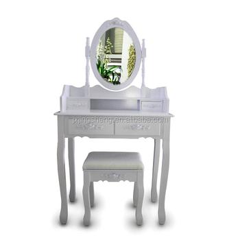 Simple Moderne Shabby Chic Coiffeuse Avec Miroir Rond Miroir Commode