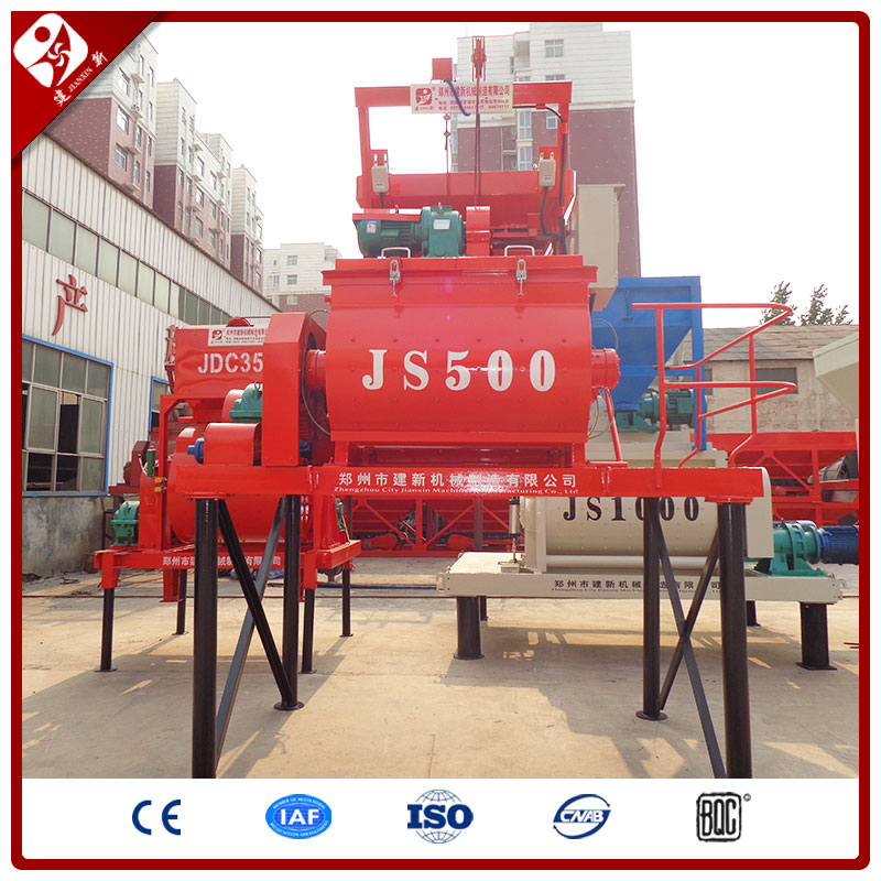 Ce Certificate Js500 Modern Design Stationary 500L Electric Twin Shaft Hydraulic Harga Batch Plastic Concrete Mixer