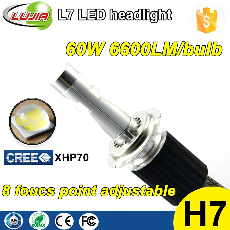 3 years warranty good performance L7 6600lm XHP70 H7 car headlight bulb LED kit, 4300k 5000k 6000k LED kit motor LED