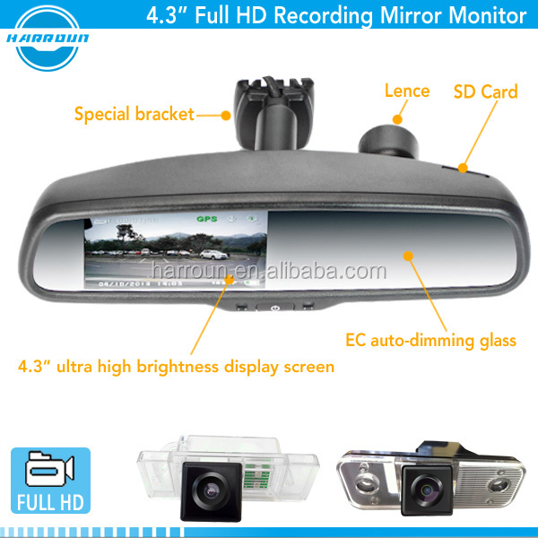 4.3 inch TFT screen full HD 1080p car dvr rearview mirror with motion detection dvr rearview monitor
