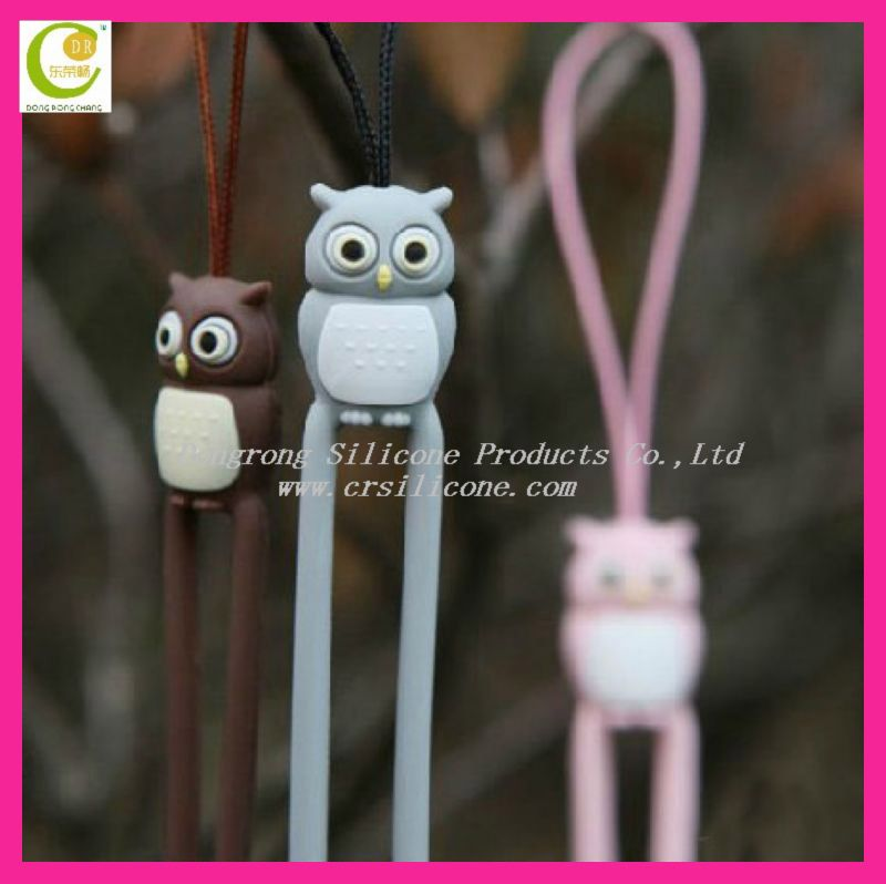 Pink Owl 3D design silicone cell phone charm string and strap