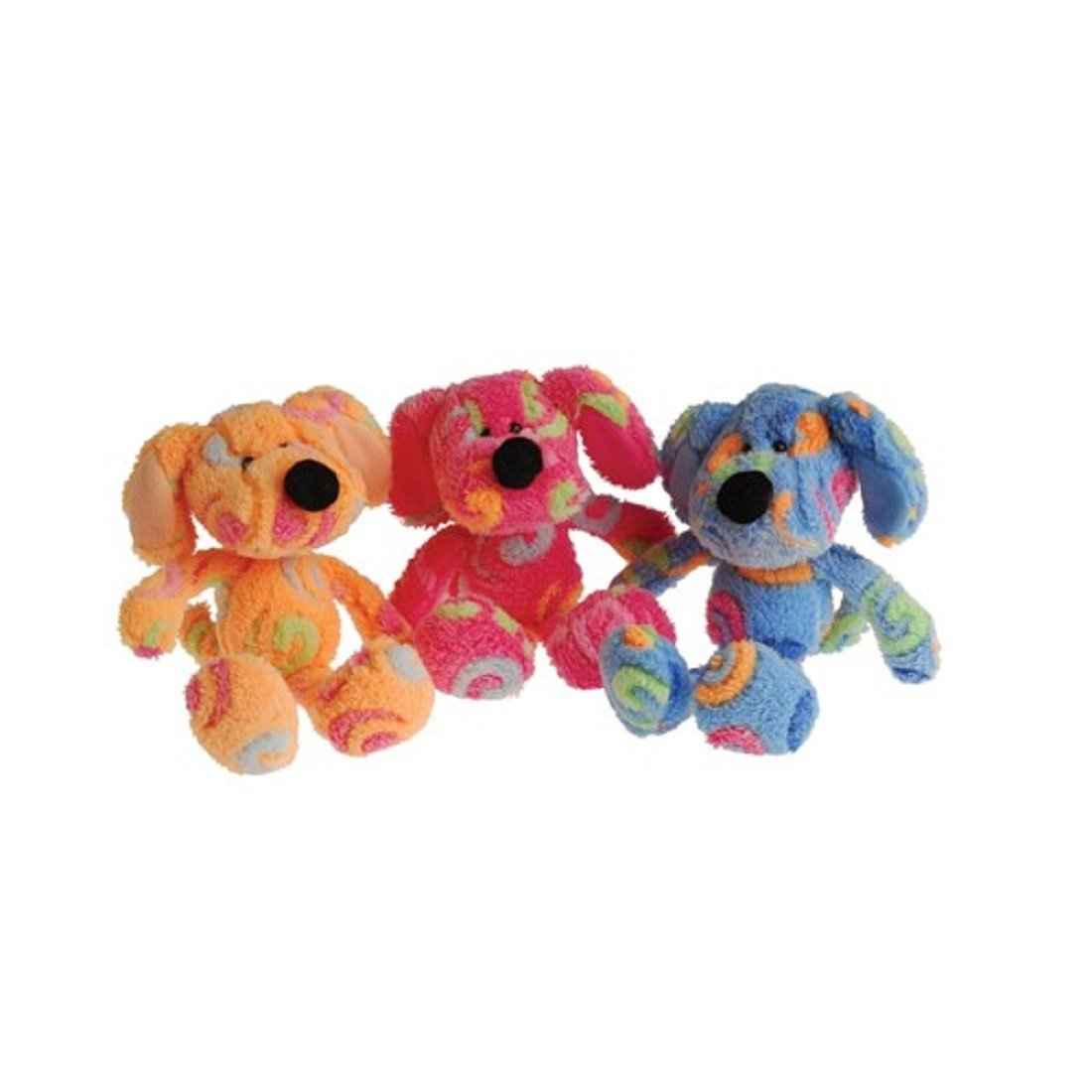 Dozen Assorted Sitting Stuffed Plush Rainbow Swirl Dog Animal Toys
