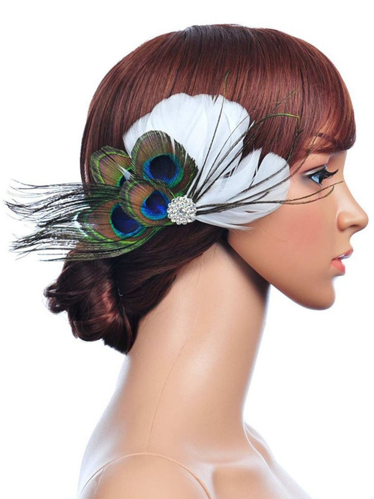 Buy s e peacock blue feather hair flower with rhinestone bridal se womens elegant peacock and white feather rhinestone flower headpiece wedding hair accessory izmirmasajfo