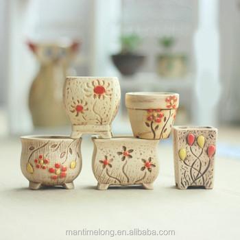 Alibaba & Korea Succulents Pots Ceramic Pottery Handwork Desktop Office Small Coarse Pottery Pot Hand-painted Flower Pots With Holes - Buy Flower PotCeramic ...