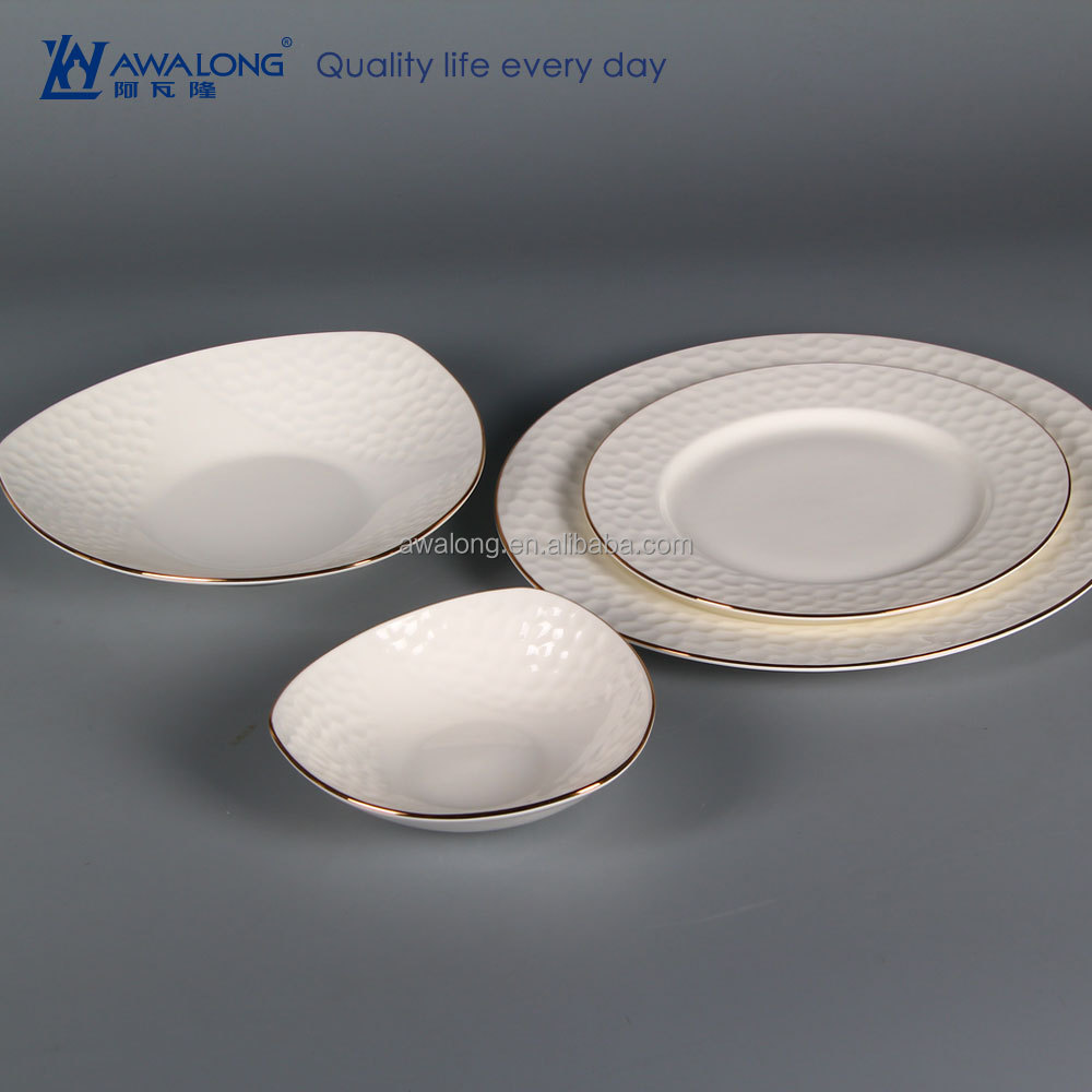 Pure White Plain Design Royal Porcelain Tableware, Fine Bone China tableware