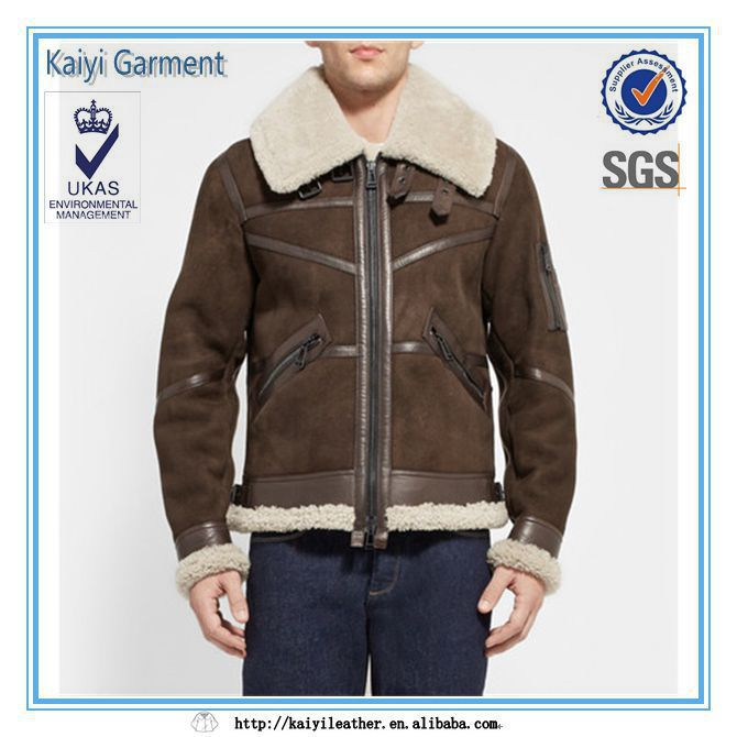 2014 wholesale suede with wool lining men jacket winter leather