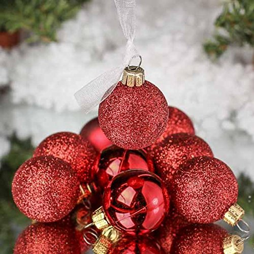 "Unido Box Christmas Ball Ornament 24 Pack, 2.5"" Inch, Gold, Silver or Red - Assorted Shiny, Matte, and Glitter - Holiday Tree Vase Decor (Red)"