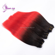 sliky straight ombre T1B/red virgin brazilian hair 3 bundles tape hair extension