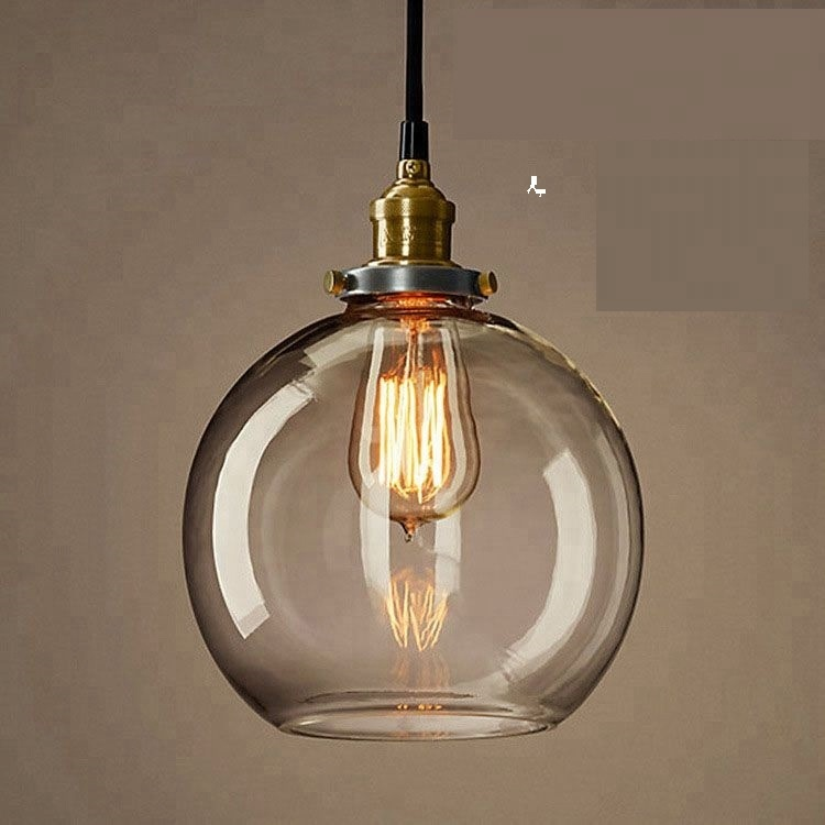 Hanging lamp industrial smoke gray ball pendant <strong>light</strong> for living room