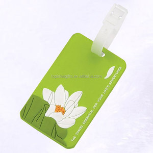 Eco-friendly Mixed Design Silicone Luggage Tags embossed lotus soft pvc luggage tags