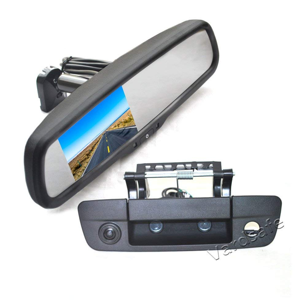 Vardsafe   Tailgate Handle Reverse Backup Camera + Replacement Rear View Mirror Monitor For Dodge Ram 1500 (2009-2017)