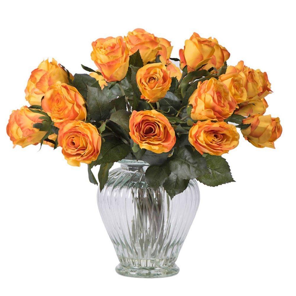 Cheap glass vase flower arrangement find glass vase flower rose arrangement with 24 roses silk flower with glass vase izmirmasajfo