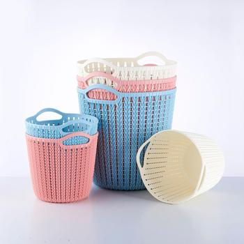 Household High Quality Plastic Hollow Rattan Dirty Clothes Storage Basket With Handles Flexible Box