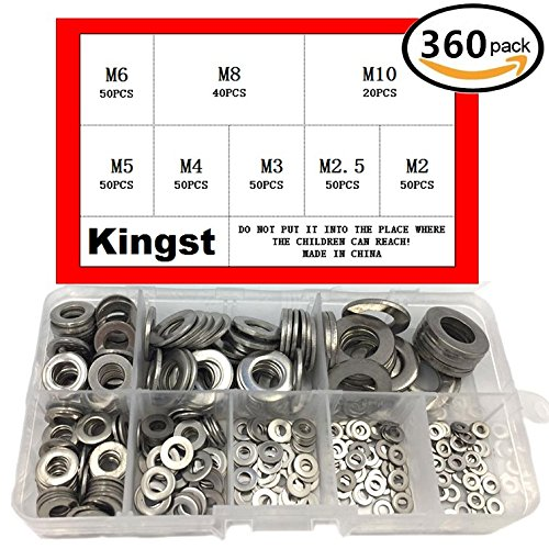 Kingsteel 360PCS Professional Stainless Steel Flat Washers Assortment Kit For M2 2.5 3 4 5 6 8 10 screws bolt -M2-10