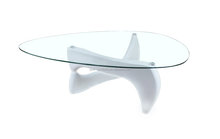 MDF high gloss painted and clear glass top coffee table rotating