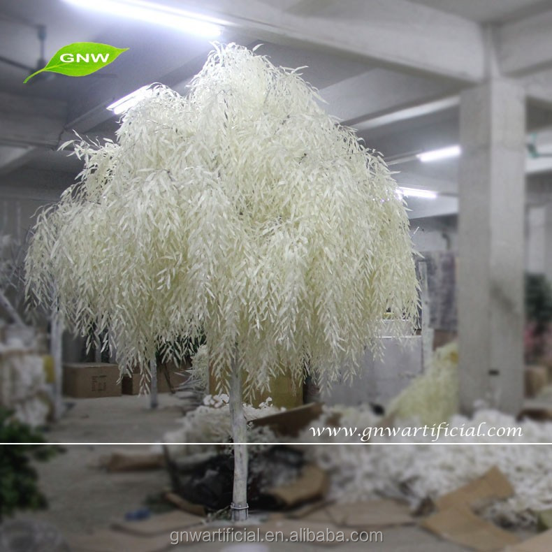 10ft Artificial White Weeping Willow White Plastic Leaves and for Halloween Decoration