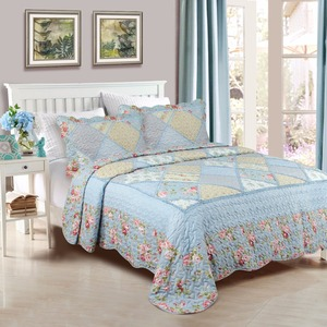 Embroidery Polyester Patchwork Luxury Bedding Quilted Plain Bedspread With Fringe